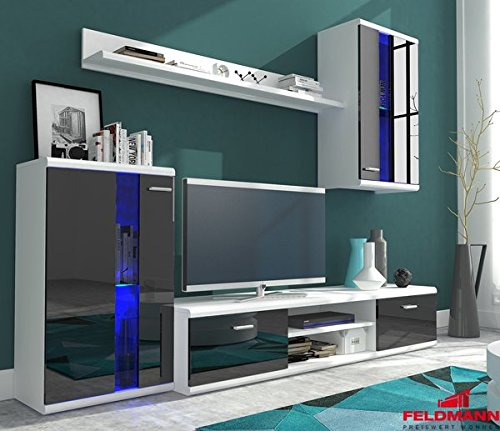 wohnwand anbauwand 4 teilig 6406 wei schwarz. Black Bedroom Furniture Sets. Home Design Ideas