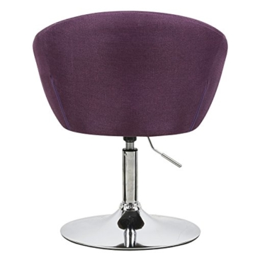 WOLTU BH61la-1-a 1 x Lounge Barsessel Sessel Design Barhocker drehbar stufenlose Höhenverstellung verchromter Stahl Leinen gut gepolsterte Sitzfläche mit Armlehne und Rücklehne Lila -