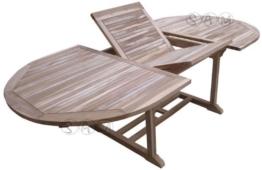 XXS® Möbel Gartentisch Aruba hochwertiges Teak Holz Schirmloch in der Mitte des Tisches ausziehbar natürliche Maserung pflegeleicht Lager Speditionsversand -