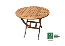 XXS® Möbel Gartentisch Rondo rund 80 cm zusammenklappbar hochwertiges Teak Holz natürliche Maserung pflegeleicht Lager Paketversand -