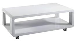 Cavadore Couchtisch Leona / moderner, niedriger Holztisch mit Rollen und Ablage / Hochglanz Weiß / 105 x 58 x 38 cm (L x B x H) -