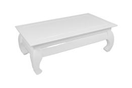 Cavadore Couchtisch Opium / niedriger Tisch in modernem Design / Hochglanz Weiß / 110 x 60 x 38 cm (L x B x H) -