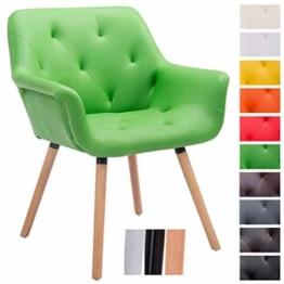 CLP Besucher-Stuhl CASSIDY, Kunstleder-Bezug, belastbar bis 150 kg, Retro-Stuhl mit Armlehne, sesselförmiger Sitz, gepolstert, Sitzhöhe 45 cm Grün, Holzgestell Farbe natura -