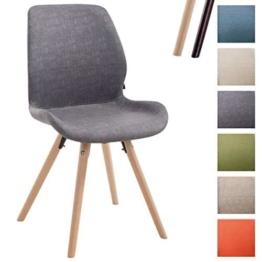 CLP Besucher-Stuhl PERTH, Bein-Form rund, Kunstleder-Sitz gepolstert, klassischer Esszimmerstuhl, Buchenholz-Gestell, Dunkelgrau, Gestellfarbe: Natura -