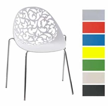 CLP Design Retro Stapelstuhl FAITH, Materialmix Kunststoff + Metall in Chromoptik Weiß -