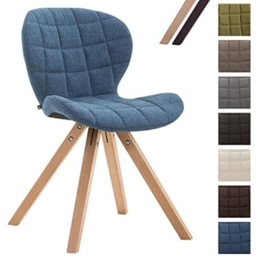CLP Design Retro-Stuhl ALYSSA, Bein-Form square, Stoff-Sitz gepolstert, Lounge-Sessel, Buchenholz-Gestell, Blau, Gestellfarbe: Natura -