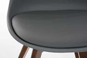 CLP Design Retro Stuhl BORNEO, Holzgestell, Sitz Kunststoff / Kunstleder, gepolstert Grau, Holzgestell Farbe walnuss -