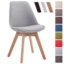 CLP Design Retro Stuhl BORNEO V2, Besucherstuhl mit Holz-Gestell, Küchenstuhl mit Stoff-Bezug Grau, Gestellfarbe: natura -