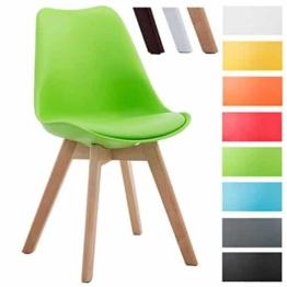 CLP Design Retro Stuhl BORNEO V2, Besucherstuhl mit Holzgestell, Materialmix aus Kunststoff und Kunstleder Grün, Gestellfarbe: natura -