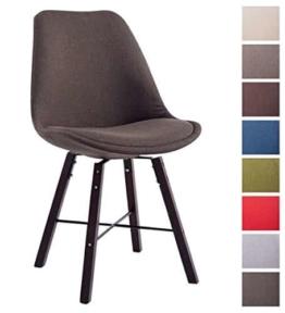CLP Design Retro Stuhl LAFFONT, Sitz-Bezug Stoff Braun, Holzgestell Farbe cappuccino -