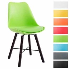 CLP Design Retro Stuhl LAFFONT, Sitz Kunststoff / Kunstleder Grün, Holzgestell Farbe cappuccino -
