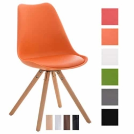 CLP Design Retro Stuhl PEGLEG, Schalenstuhl Sitzhöhe 46 cm, gepolstert, Sitz Kunststoff / Kunstleder Orange, Holzgestell natura -