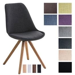 CLP Design Retro Stuhl PEGLEG SQUARE, Stoffbezug, Schalenstuhl, gepolstert, Sitzhöhe 46 cm Dunkelgrau, Holzgestell Farbe natura, Bein-Form eckig -