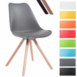 CLP Design Retro-Stuhl TOULOUSE RUND, Kunststoff-Lehne, Kunstleder-Sitz gepolstert Grau, Holzgestell Farbe natura, Bein-Form rund -