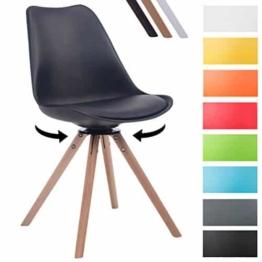 CLP Design Retro-Stuhl TROYES RUND, Kunststoff-Lehne, Kunstleder-Sitz, drehbar, gepolstert Schwarz, Holzgestell Farbe natura, Form rund -