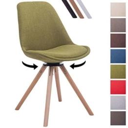 CLP Design Retro-Stuhl TROYES RUND, Stoff-Sitz, gepolstert, drehbar Grün, Holzgestell Farbe natura, Bein-Form rund -
