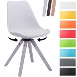 CLP Design Retro-Stuhl TROYES SQUARE, Kunststoff-Lehne, Kunstleder-Sitz gepolstert drehbar Weiß, Holzgestell Farbe weiß, Bein-Form eckig -