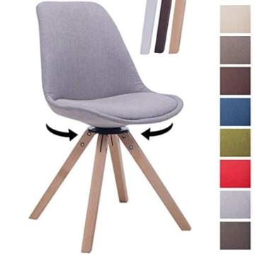 CLP Design Retro-Stuhl TROYES SQUARE, Stoff-Sitz gepolstert, drehbar Grau, Holzgestell Farbe natura, Bein-Form eckig -