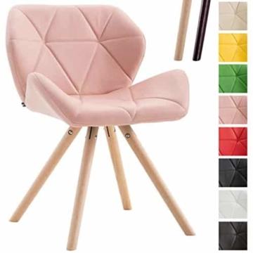 CLP Design Retro-Stuhl TYLER, Bein-Form rund, Kunstleder-Sitz gepolstert, Buchenholz-Gestell, Pink, Gestellfarbe: Natura -