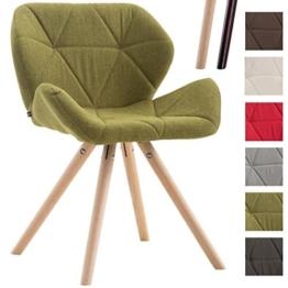 CLP Design Retro-Stuhl TYLER, Bein-Form rund, Stoff-Sitz gepolstert, Buchenholz-Gestell, Grün, Gestellfarbe: Natura -