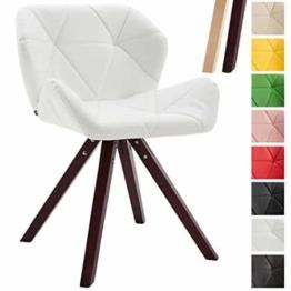 CLP Design Retro-Stuhl TYLER, Bein-Form square, Kunstleder-Sitz gepolstert, Buchenholz-Gestell, Weiß, Gestellfarbe: Cappuccino -