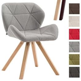 CLP Design Retro-Stuhl TYLER, Bein-Form square, Stoff-Sitz gepolstert, Buchenholz-Gestell, Hellgrau, Gestellfarbe: Natura -
