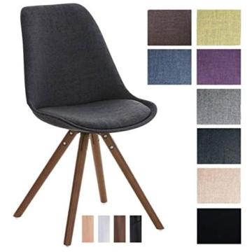 CLP Design Stuhl PEGLEG mit Stoff-Bezug, Retro Design, Esszimmer-Stuhl gepolstert, Sitzhöhe 46 cm Dunkelgrau, Holzgestell walnuss -