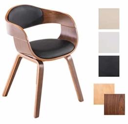 CLP Retro Besucher-Stuhl KINGSTON mit Armlehne, gepolstert, Holzgestell, modern Holz Farbe walnuss, Bezug Farbe schwarz -