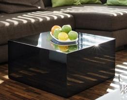 Couch-Tisch schwarz Hochglanz quadratisch aus MDF 60x60cm quadratisch | Kuba | Moderner Wohnzimmer-Tisch in schlichtem Design 60cm x 60cm -