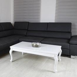 Couchtisch 3 Größen Hochglanz Weiß Lack Blüten Tisch Beistelltisch Holz Lack 100 x 60 cm -