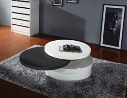 Couchtisch Dakoro 03, Farbe: Weiß Hochglanz / Schwarz Hochglanz - Abmessungen: 38 x 80 x 80 cm (H x B x T) -
