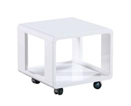Couchtisch Dakoro 16, Farbe: Weiß Hochglanz - Abmessungen: 40 x 45 x 45 cm (H x B x T) -