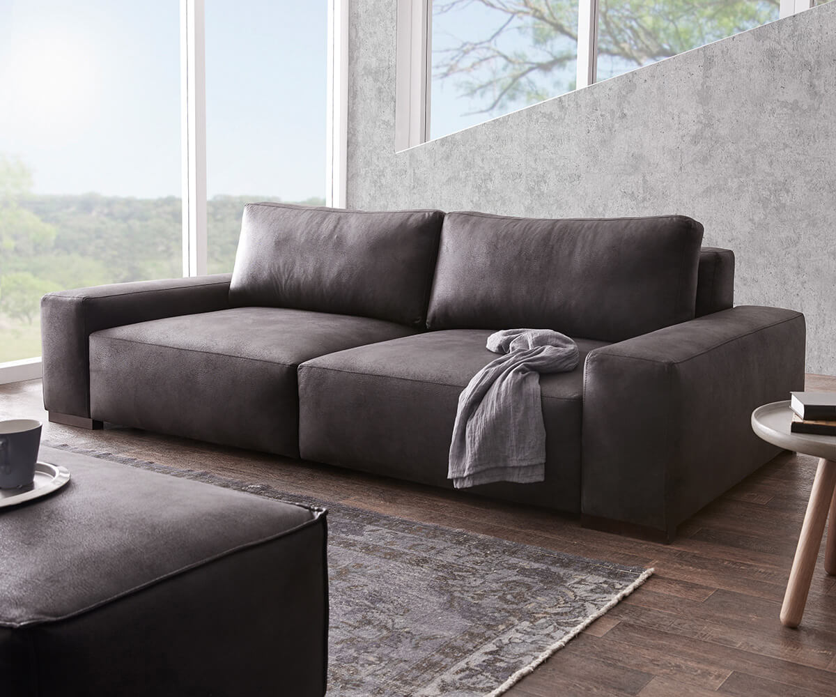delife big sofa lanzo 270x125 cm anthrazit vintage optik. Black Bedroom Furniture Sets. Home Design Ideas