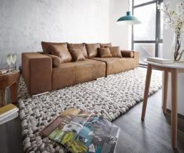 DELIFE Big-Sofa Marbeya 285x115 Braun Antik Optik mit 10 Kissen, Big Sofas