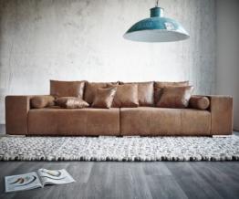 DELIFE Big-Sofa Marbeya 285x115 cm Braun mit Hocker Antik Optik, Big Sofas