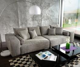DELIFE Big-Sofa Marbeya 285x115 cm Hellgrau Couch mit Kissen, Big Sofas