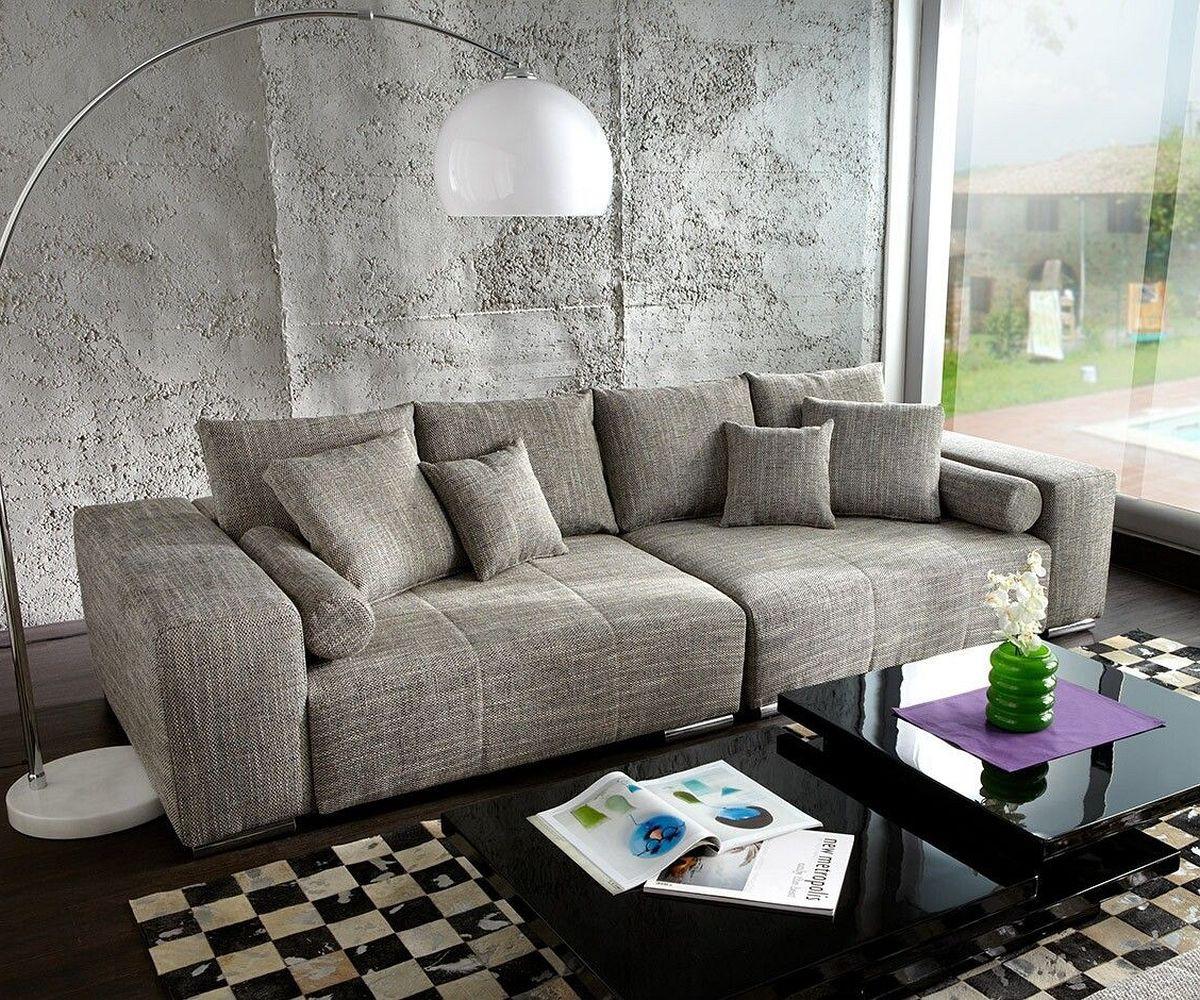 DELIFE Big Sofa Marbeya 285×115 cm Hellgrau Couch mit