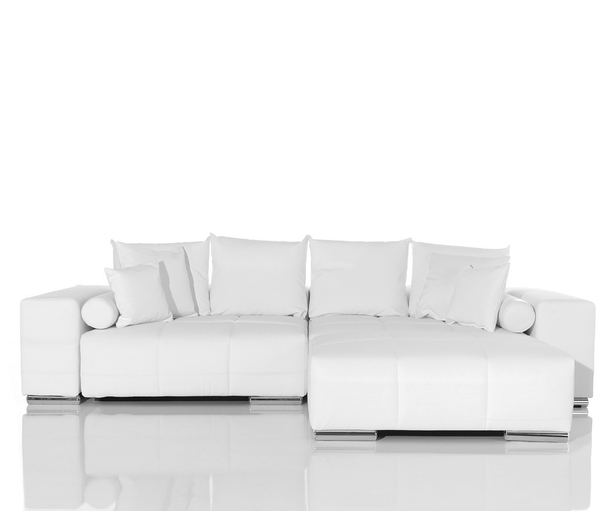 delife big sofa marbeya 285x115 cm weiss hocker und kissen. Black Bedroom Furniture Sets. Home Design Ideas