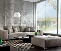 DELIFE Big-Sofa Marbeya 285x115 Hellgrau Couch mit Hocker, Big Sofas