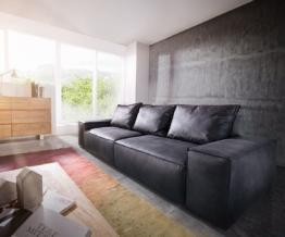 DELIFE Big-Sofa Sirpio 250x105 cm Anthrazit Vintage Kedernaht, Big Sofas