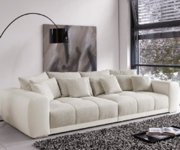 DELIFE Big Sofa Valeska 310x135 cm Grau Beige mit 12 Kissen, Big Sofas