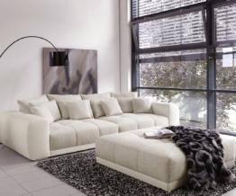 DELIFE Big-Sofa Valeska 310x135 mit Hocker Grau Weiss, Big Sofas
