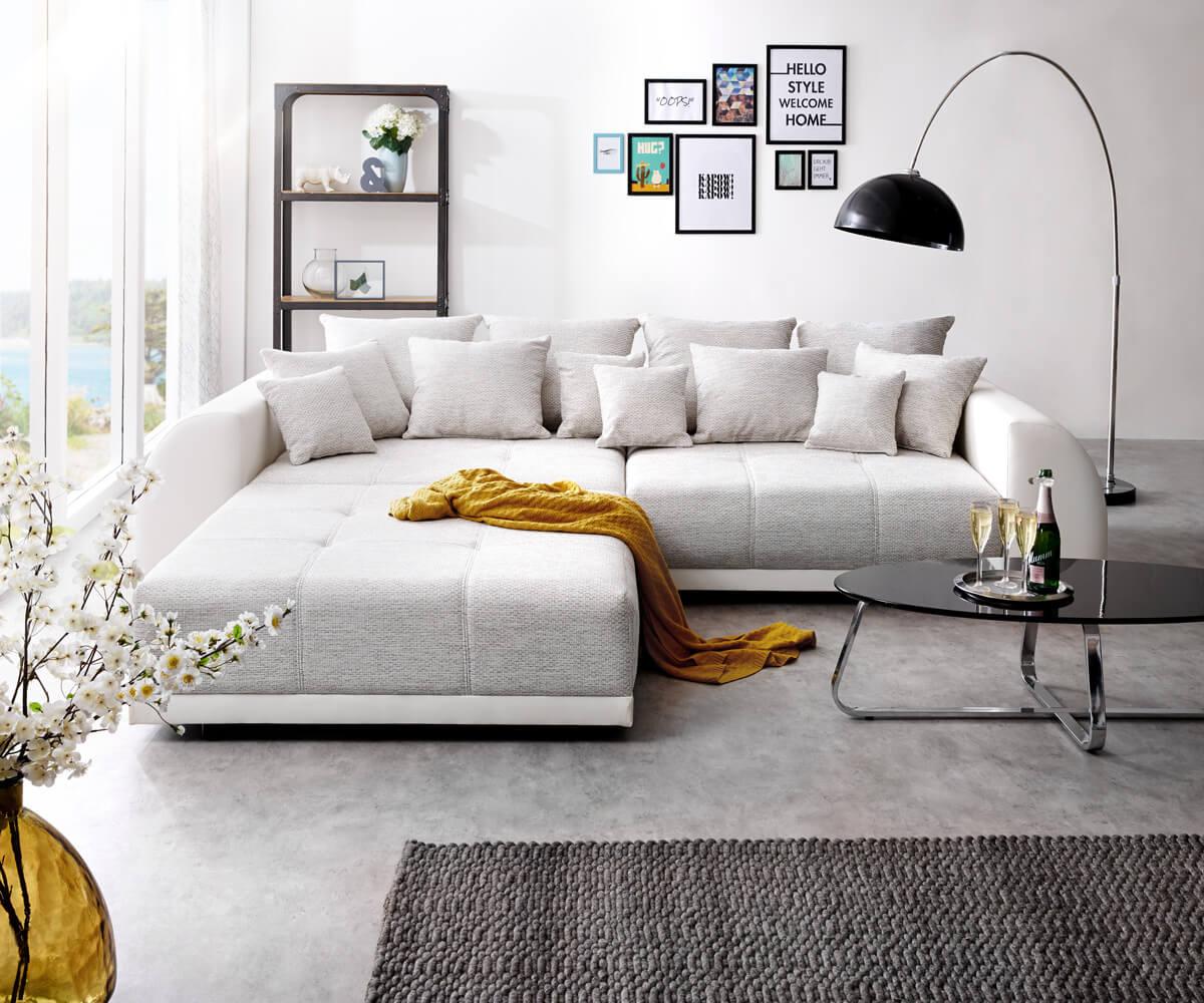 delife big sofa violetta 310x135 cm hellgrau creme mit. Black Bedroom Furniture Sets. Home Design Ideas