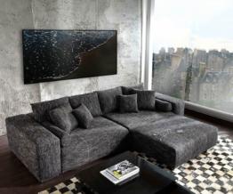 DELIFE Big-Sofa XXL Marbeya 290x110 Schwarz mit Hocker, Big Sofas