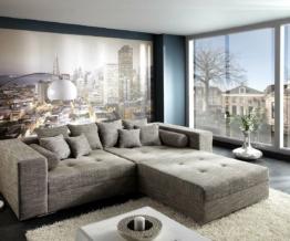 DELIFE Bigsofa Marlen 300x140 cm Hellgrau mit Sitzhocker, Big Sofas