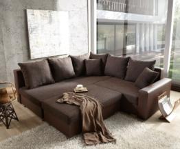 DELIFE Couch Lavello 210x210 Dunkelbraun Ottomane links Hocker, Ecksofas