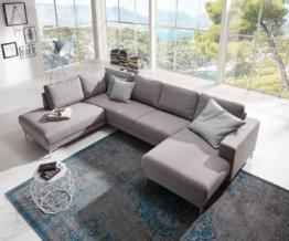 DELIFE Designer-Wohnlandschaft Silas 300x200 Grau Ottomane Links, Wohnlandschaften, Designer Sofa