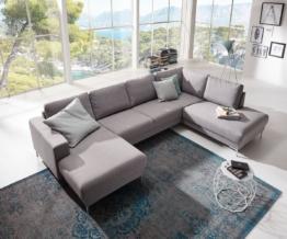 DELIFE Designer-Wohnlandschaft Silas 300x200 Grau Ottomane Rechts, Wohnlandschaften, Designer Sofa