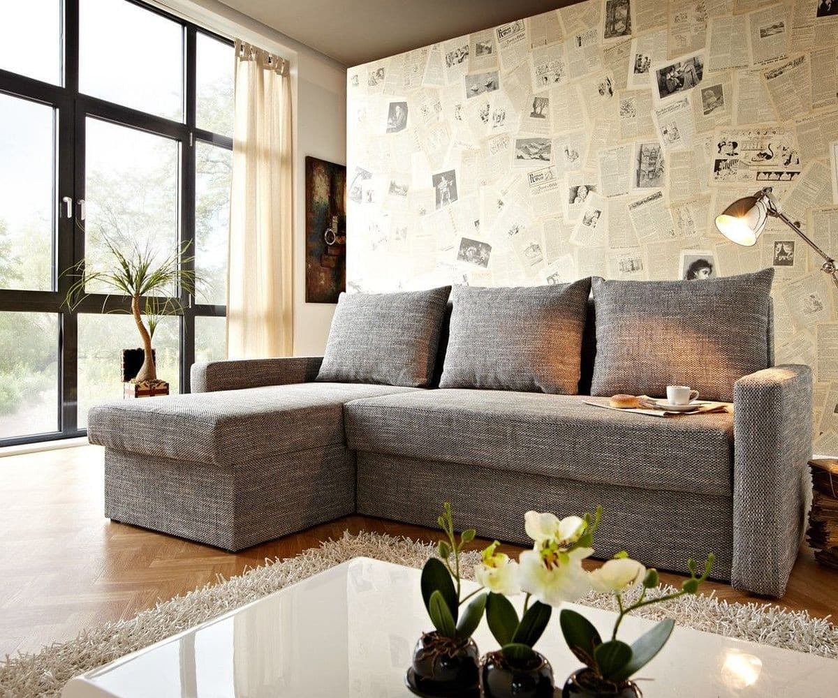 delife ecksofa avondi 225x145 hellgrau mit bettkasten. Black Bedroom Furniture Sets. Home Design Ideas