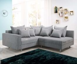 DELIFE Ecksofa Clovis Grau Flachgewebe Armlehne Ottomane Links Modulsofa, Design Ecksofas, Couch Loft, Modulsofa, modular